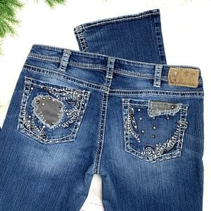👖NWOT •SILVER•  Aiko Boot Cut Jeans 33x31👖